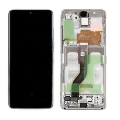 Ekranas Samsung G985F / G986F S20 Plus su lietimui jautriu stikliuku ir rėmeliu baltas (Cloud White) originalus (service pack)