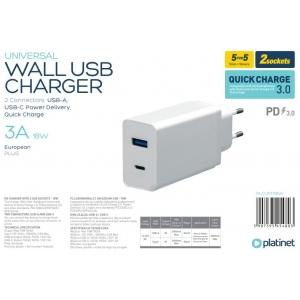 Įkroviklis Platinet QuickCharge Type-C+USB 3.0A (18W) baltas