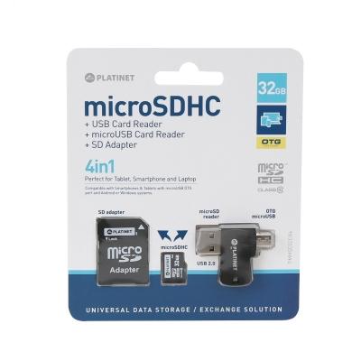 Atminties korta Platinet MicroSD 32GB (class10) + SD Adapteris + OTG kortelių skaitytuvas
