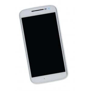 Ekranas Motorola Moto G4 XT1622 su lietimui jautriu stikliuku ir rėmeliu baltas HQ