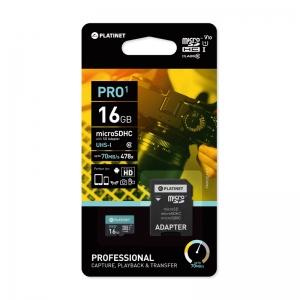 Atminties korta Platinet MicroSD 16GB (class10 UHS-I 70MB / s) + SD Adapteris