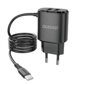 Įkroviklis Dudao A2Pro + type-C kabelis (2xUSB 5V 2.4A) juodas