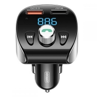 Įkroviklis automobilinis + FM transmiteris Joyroom (2xUSB,bluetooth,microSD,3A,18W) juodas