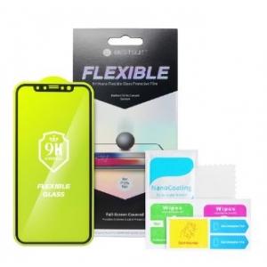 LCD apsauginis stikliukas Bestsuit Flexible Hybrid Glass 5D Apple iPhone 12 / 12 Pro pritaikytas dėklui juodas
